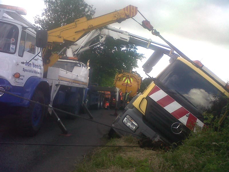 Bedfords at Work Recovering a Ditched Tanker